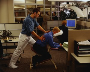 Office Worker Getting Back Massage at Work
